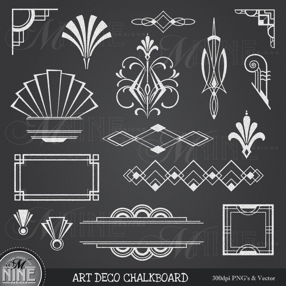 Blackboard Artwork Ideas: CHALK ART DECO Clipart: Chalkboard Art Deco Clip Art Design