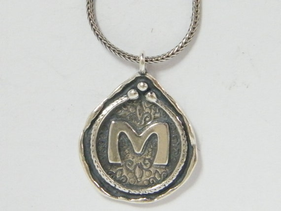M Letter In Silver 925 Sterling Si...