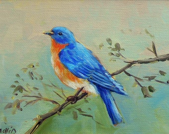 """Original painting, Love birds, Blue bird on canvas panel  by Rachid Bouhouta 5""""x7"""" . Orange blue color. Shipping included"""