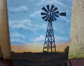 Rural Windmil Acrylic Painting 11'' x 14''