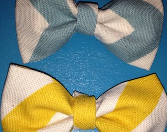 Baby boy bow tie-Easter bow tie-yellow chevron-baby blue chevron-clip-on