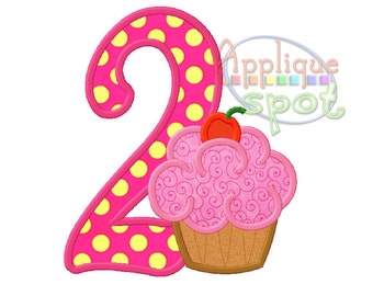 Cupcake Second 2nd Birthday Girl 2 - 4x4 5x7 6x10 Applique Design Embroidery Machine -Instant Download File