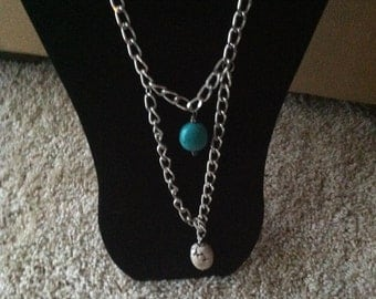 Boho necklace, turquoise and white turquoise on silver plated chain.