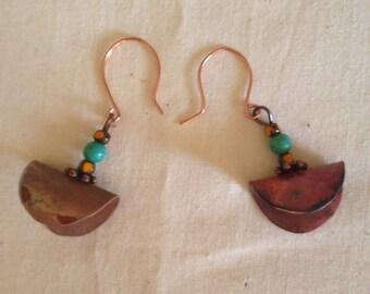 Earrings copper turquoise