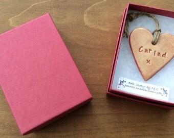 Cariad (Love in Welsh) hanging mini ceramic heart gift/decorative item handmade in Wales