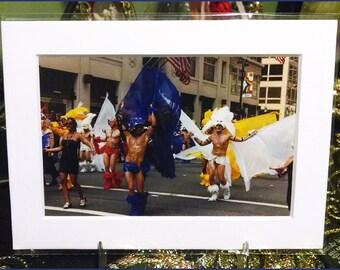 Gay Pride Parade: Blue & White Flag Dancers Photograph (2000s)