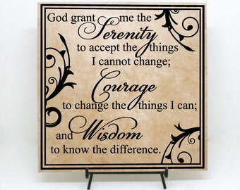 "Serenity Prayer Sign ""God grand me the serenity to accept"" - Serenity Saying, God grant me sign, Spiritual Sign, Serenity Courage Wisdom"