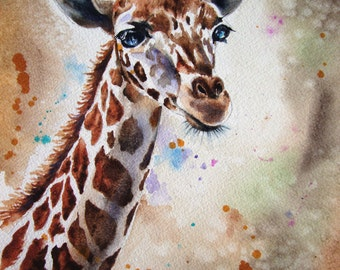 Giraffe Watercolor Child's Room Art print from my original watercolor giraffe painting Wall Decor 8 x 10