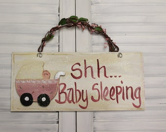 Baby Sleeping Hand Painted Wood Sign