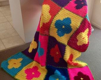 Bold Flowers Handmade Crochet Blanket