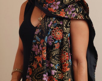 Multi-colored silk rayon velvet scarf, fully lined with black China silk.