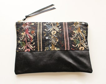 Vintage Black Floral Tapestry and Repurposed Leather Clutch Bag