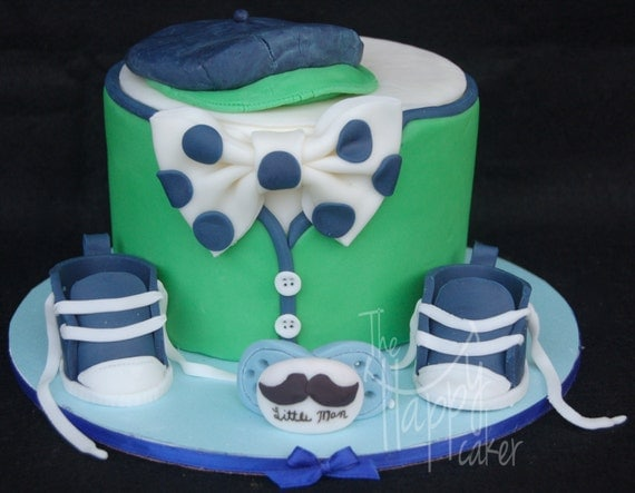little man theme baby shower cake kit baby shoes pacifier bow tie