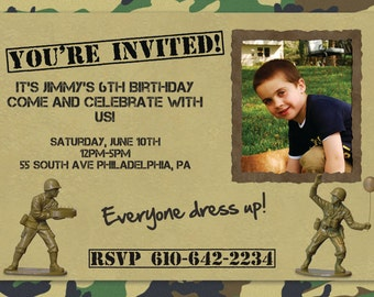 Army Party Invitation - Custom with Picture!