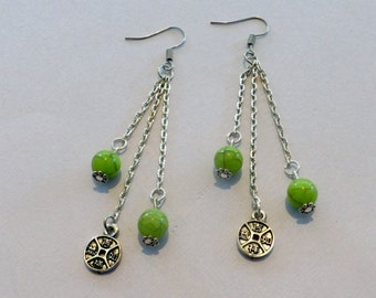 Adorable Dangle earrings with 3 Silver chain, 2 Green bead,and 1 Chinese charm