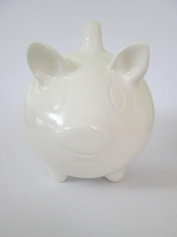 Ceramic Pig Piggy Bank Vintage Design White By Ceramicslodge