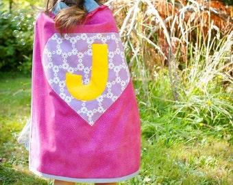 One Cape. PINK and PURPLE SPARKLE Personalized Super Hero Cape - Girls Birthday Gift / Super Hero Costume / Girls Halloween / Princess