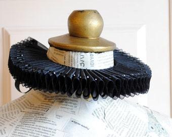Black Organza Elizabethan Ruff Collar,Gothic Ruffle Collar with Crystals-Custom-Made to Order