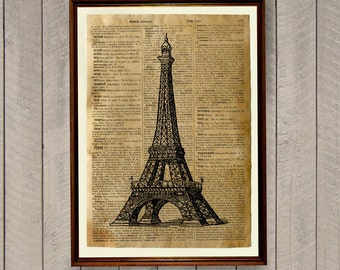 Eiffel Tower poster Paris decor Dictionary print Vintage illustration WA206
