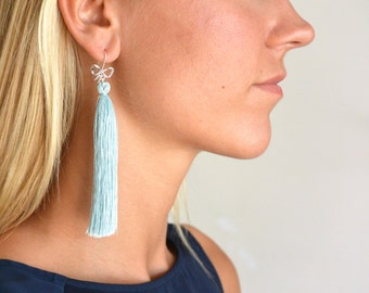 Cotton blue tassel earrings and 925 Silver Flake