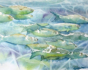 Underwater Fish Original Watercolor Painting