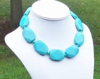 Monroe - Chunky 35mm Faceted Aqua Turquoise Rectangle Gemstone Beaded Necklace