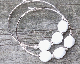 Whitney - Simple White Faceted Czech Glass Beaded Hoop Earrings - 30mm Round
