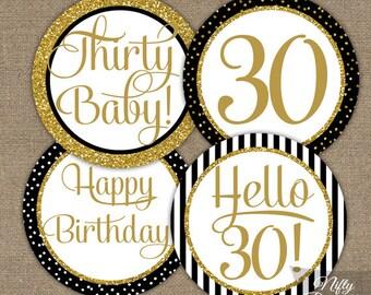 30th Birthday Cupcake Toppers - 30th Birthday Party Decorations Printable - Black Gold Glitter - Elegant 30th Birthday Favor Tags Thirty BGL