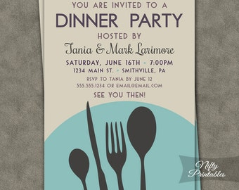 Dinner Party Invitations - Printable Dinner Party Invites - Brunch Invitations - Lunch Invitations - Turquoise Meal Invitations