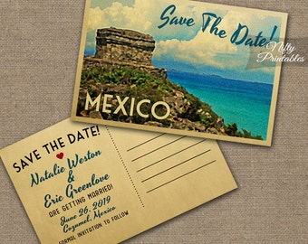 Mexico Save The Date Postcard - Vintage Travel Mexico Save The Date Postcards - Printable Retro Tulum Destination Wedding Save The Dates VTW