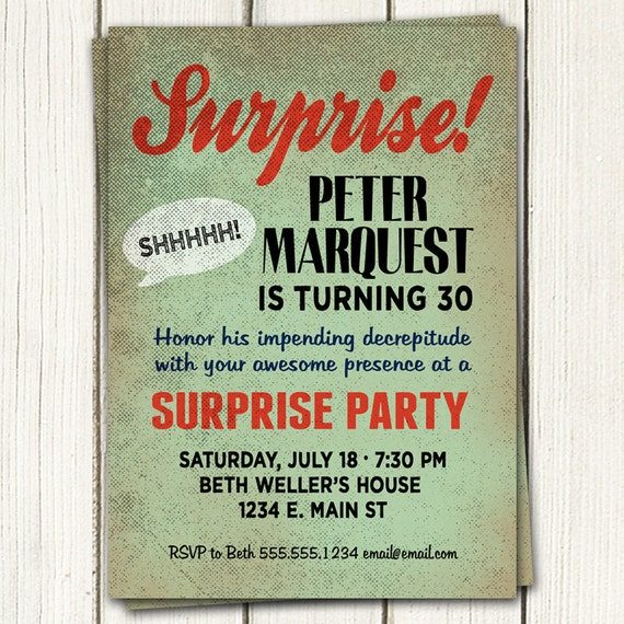Surprise Birthday Party Invitations