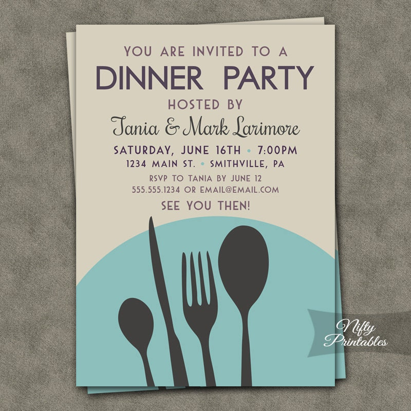 Dinner Party Invitations Printable Dinner Party Invites