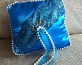 Turquoise Satin Wedding ring pillow