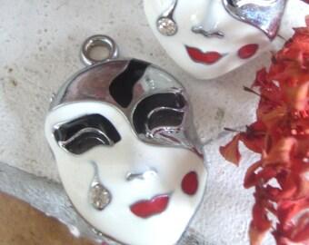 Asian Woman Mask charm with rhinestone tear drop