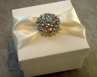Glittering Diamante Brooch Decorated Gift Box. Bespoke. Various Colour Options.