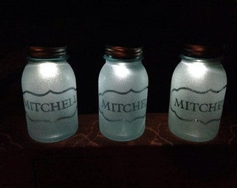 One of a Kind Glass Etched Mason Jar Solar Lantern Indoor or Outdoor!