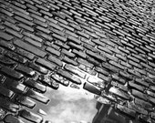 Window to the Sky Art Print, Black and White Photography, Dublin puddle in cobblestones, wall art