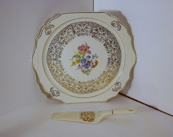 Harker Pottery 22 Kt Gold trimmed Pie plate with server,