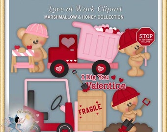 Valentines Clipart, Teddy Bears Love at Work, Marshmallow and Honey