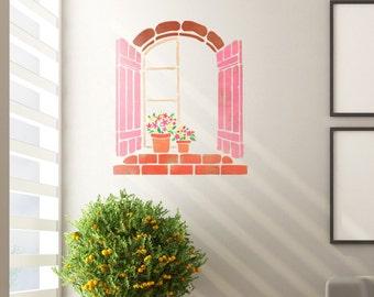 Wall Stencils Flower window Stencil Template even better than wallpaper decals