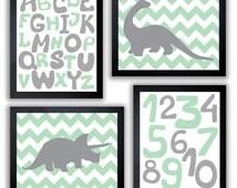 INSTANT DOWNLOAD Mint Green Grey Dinosaur Nursery Art Printable Baby Set of 4 Prints Alphabet Numbers Chevron Wall Decor Kid Room Baby Boy