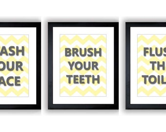 INSTANT DOWNLOAD Yellow Grey Gray Set of 3 Printable Bathroom Print Wash Flush Brush Art Print Wall Decor Modern Minimalist Chevron