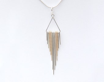 Waterfall Necklace - Sterling Silver and 14 Karat Gold-Filled