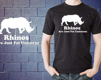 Rhinos Are Just Fat Unicorns T-Shirt Funny Unicorn Shirt Tshirt  Tees