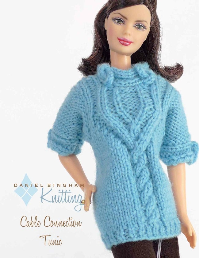 Chunky Infinity Scarf Knit Pattern : Knitting pattern for 11 1/2 doll Barbie: Cable