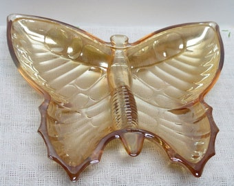 Carnival Glass Butterfly Shape Marigold Amber  Serving Dish with Divided Plate