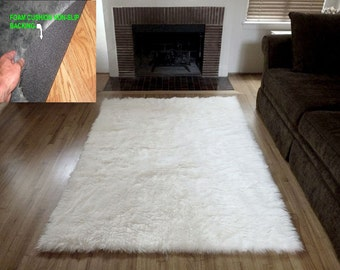 4' x 6' Natural WHITE soft Faux fur rug non-slip anti microbacterial foam backing for carpet and or wood floor washable Free Shipping