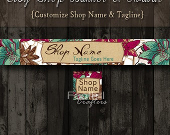 Etsy Shop Banner and Matching Avatar,Premade Colorful Flowers, Customize Shop Name and Tagline, Graphic Design Service, Floral Designs