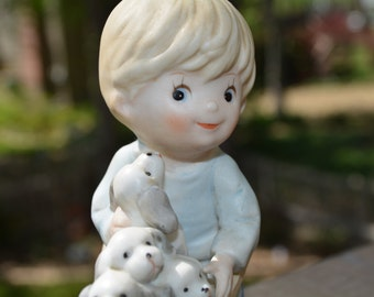 Boy Figurine, Homco 1402, Vintage Figurine, Boy Pushing Cart, Boy and Puppies, Shelf Decor, Kids Room Decor, Nursery Decor, Baby Room