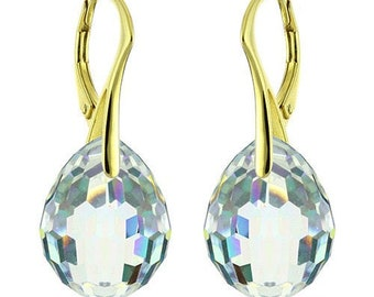 14k Gold Over 925 Sterling Silver Plump Swarovski Crystal Leverback Earrings